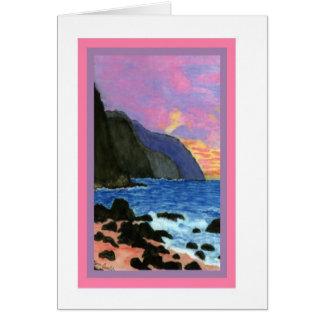 Cartão Por do sol do Cartão-NaPali, Kauai, Havaí