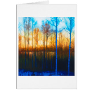 Cartão Por do sol do inverno no lago Siljan
