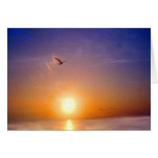 Cartão Por do sol do oceano que pensa de você