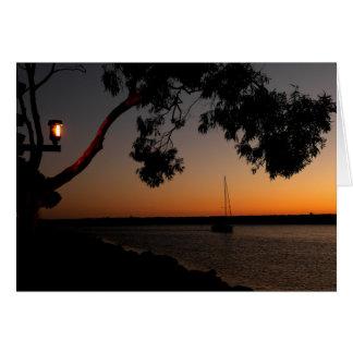 Cartão Por do sol do porto de Dana Point