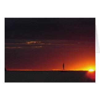 Cartão Por do sol do veleiro