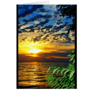 Cartão Por do sol do Winnebago do lago que pensa de você