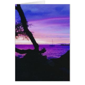 Cartão Por do sol havaiano, praia de Anaeho'omalu