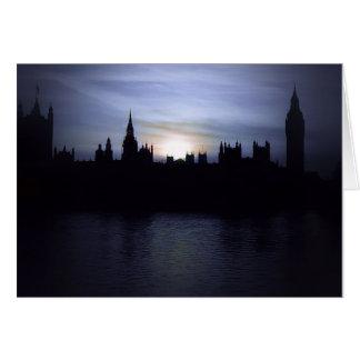 Cartão Por do sol-Londres-Parlamento-Grande de Ben