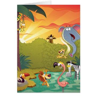 Cartão Pôr-do-sol no furo de água