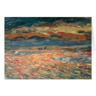 Cartão Por do sol no mar por Pierre Renoir, belas artes