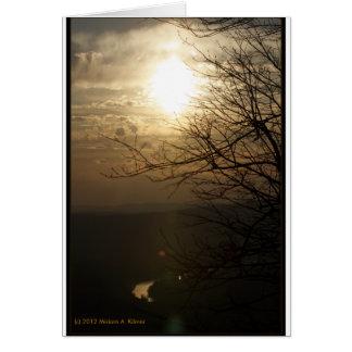 Cartão Por do sol: Rio de Shenandoah da movimentação da