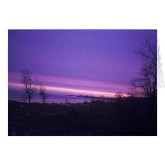 Cartão Por do sol roxo sobre o Lago Michigan