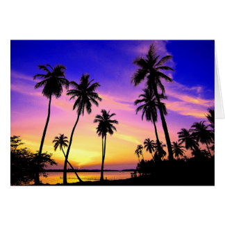 Cartão Por do sol tropical da ilha sobre Sri Lanka