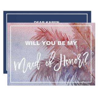 Cartão Por do sol tropical você será minha madrinha de