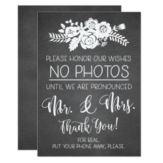 Cartão Por favor nenhum sinal da cerimónia de casamento