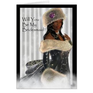 Cartão Por favor você será minha dama de honra?