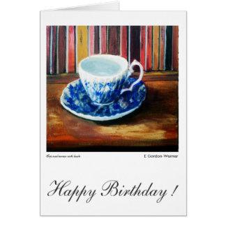Cartão Porcelana do feliz aniversario, a azul e a branca