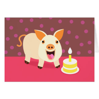 Cartão Porco & bolo do aniversário