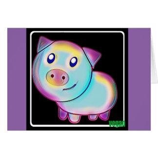 Cartão Porco colorido Vegan