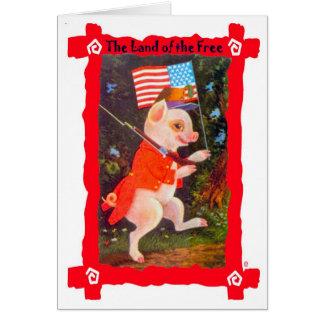 Cartão Porco como o soldado revolucionário