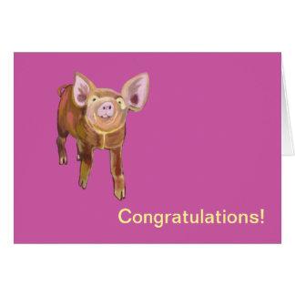 Cartão Porco Congrats do pasto