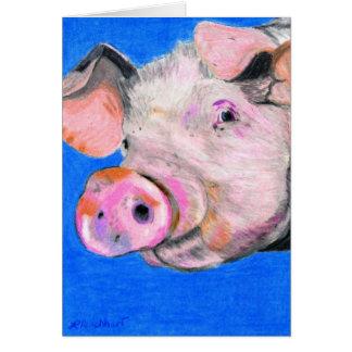 Cartão Porco cor-de-rosa