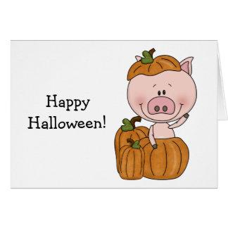 Cartão Porco da abóbora (customizável)