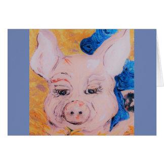 Cartão Porco da fita azul