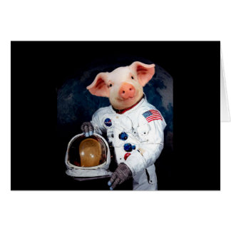 Cartão Porco do astronauta - astronauta do espaço