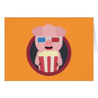 Cartão Porco do cinema com pipoca Zpm09