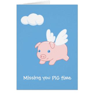 Cartão Porco do vôo que falta o vazio