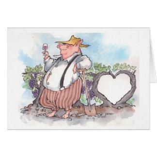 Cartão Porco engraçado que guardara o vidro de vinho com