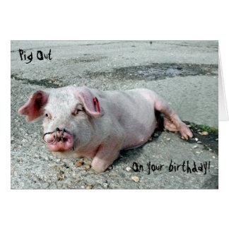 Cartão Porco para fora em seu aniversário!