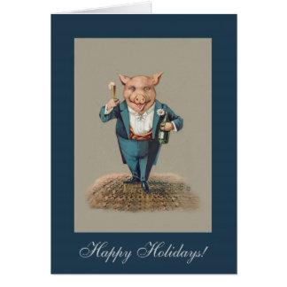 Cartão Porco Partying engraçado - feriado animal