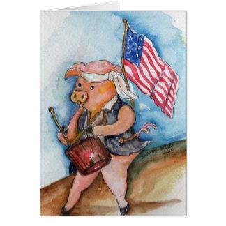 Cartão Porco patriótico