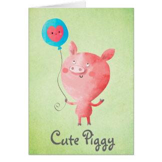 Cartão Porco pequeno bonito