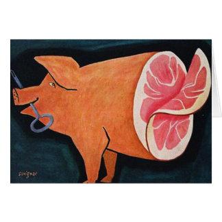 """Cartão Porco retro """"Ham cortado da carne de porco da"""