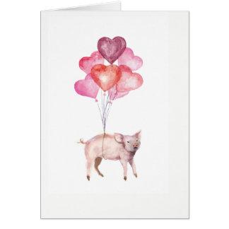 Cartão Porco Supercute da aguarela com balões do coração