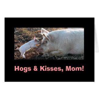 Cartão Porcos & beijos, mamã!