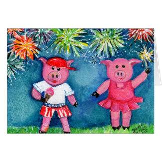 Cartão Porcos com fogos-de-artifício
