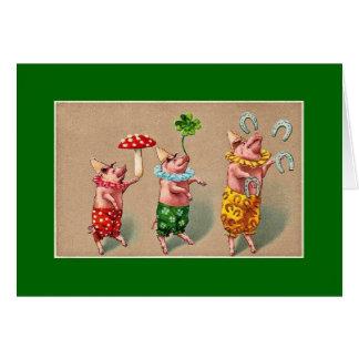Cartão Porcos de mnanipulação do vintage
