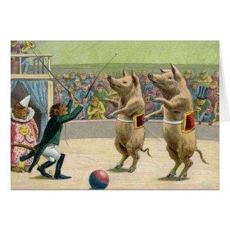 Cartão Porcos do Ringmaster e do circo do macaco