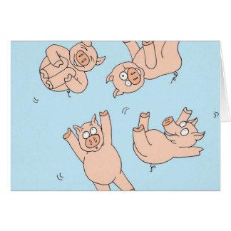 Cartão Porcos do trampolim