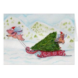 Cartão Porcos do vôo que trazem em casa a árvore de Natal