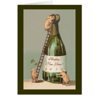 Cartão Porcos e Champagne; Ano novo do vintage engraçado