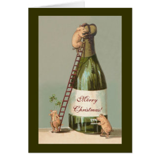 Cartão Porcos e Champagne; Natal vintage engraçado