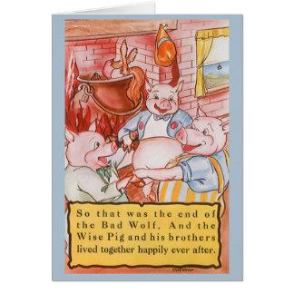 Cartão Porcos pequenos do conto de fadas três do vintage