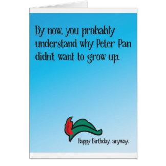 Cartão Porque Peter Pan não quis crescer acima