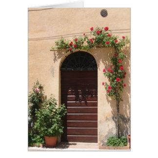 Cartão Porta com videira da rosa vermelha