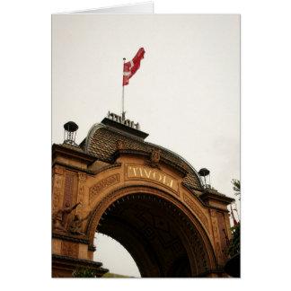Cartão Porta de jardins Copenhaga de Tivoli Dinamarca