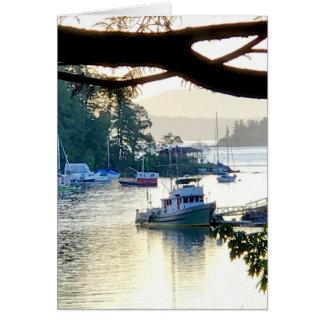 Cartão Porto calmo do barco