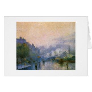 Cartão Porto de Tamisa pela pintura impressionista alemão