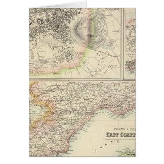 Cartão Portos e portos na costa leste de Scotland