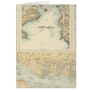 Cartão Portos e portos na costa sul de Inglaterra